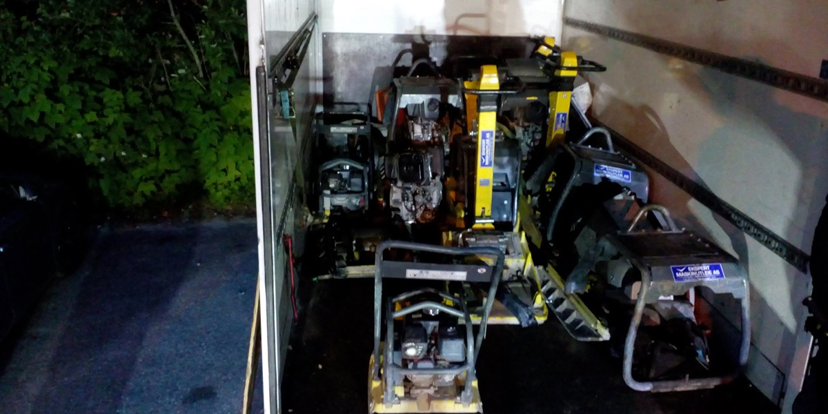 Image of Van loaded with stolen machines worth half a million NOK found with GSGroup tracking solution
